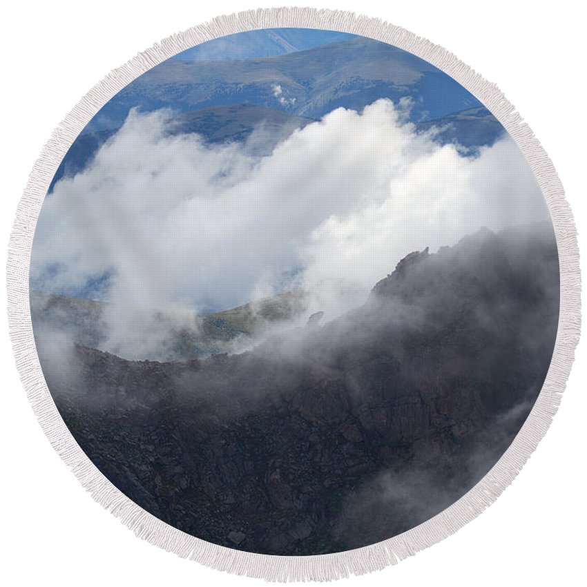 Mt. Bierstadt Round Beach Towel featuring the photograph Mt. Bierstadt In The Clouds by Jim Garrison