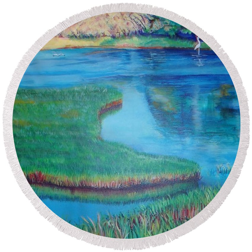River Round Beach Towel featuring the painting Myakka Sanctuary by Ecinja Art Works