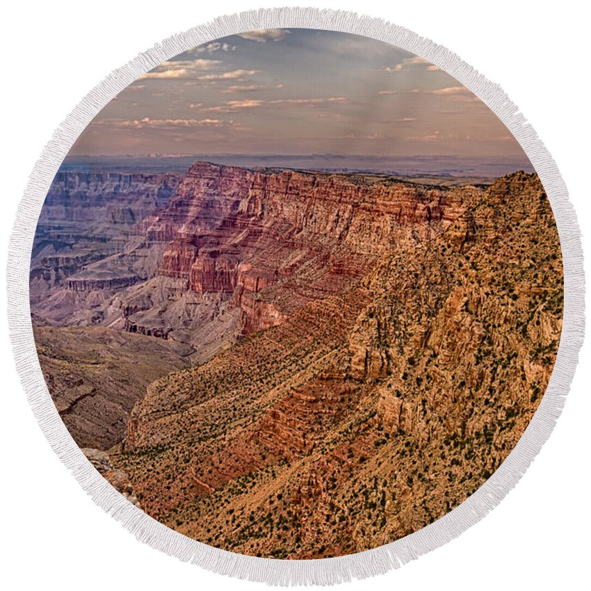 Grand Canyon Round Beach Towel featuring the digital art Navajo Viewpoint In Grand Canyon National Park by Bob and Nadine Johnston