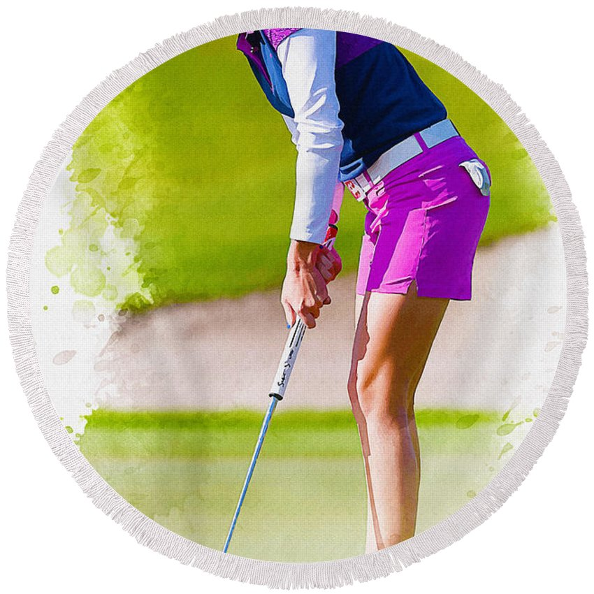 Canada Round Beach Towel featuring the digital art Paula Creamer Putts The Ball On The Fourth Green by Don Kuing