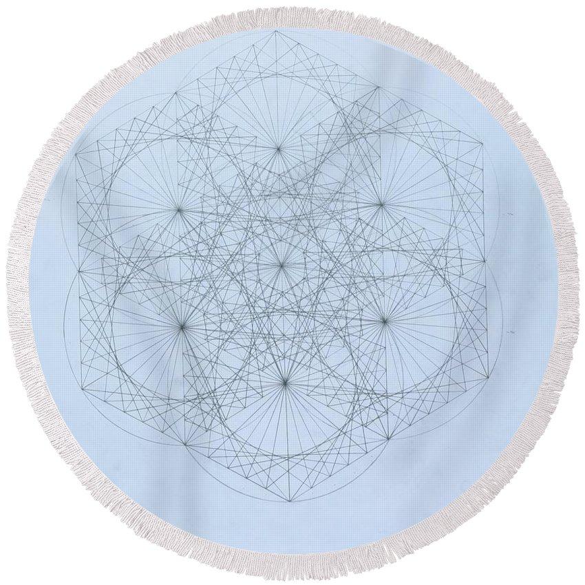 Jason Padgett Round Beach Towel featuring the drawing Quantum Snowflake by Jason Padgett