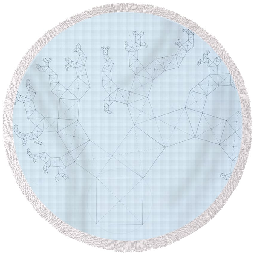 Fractal Tree Round Beach Towel featuring the drawing Quantum Tree by Jason Padgett