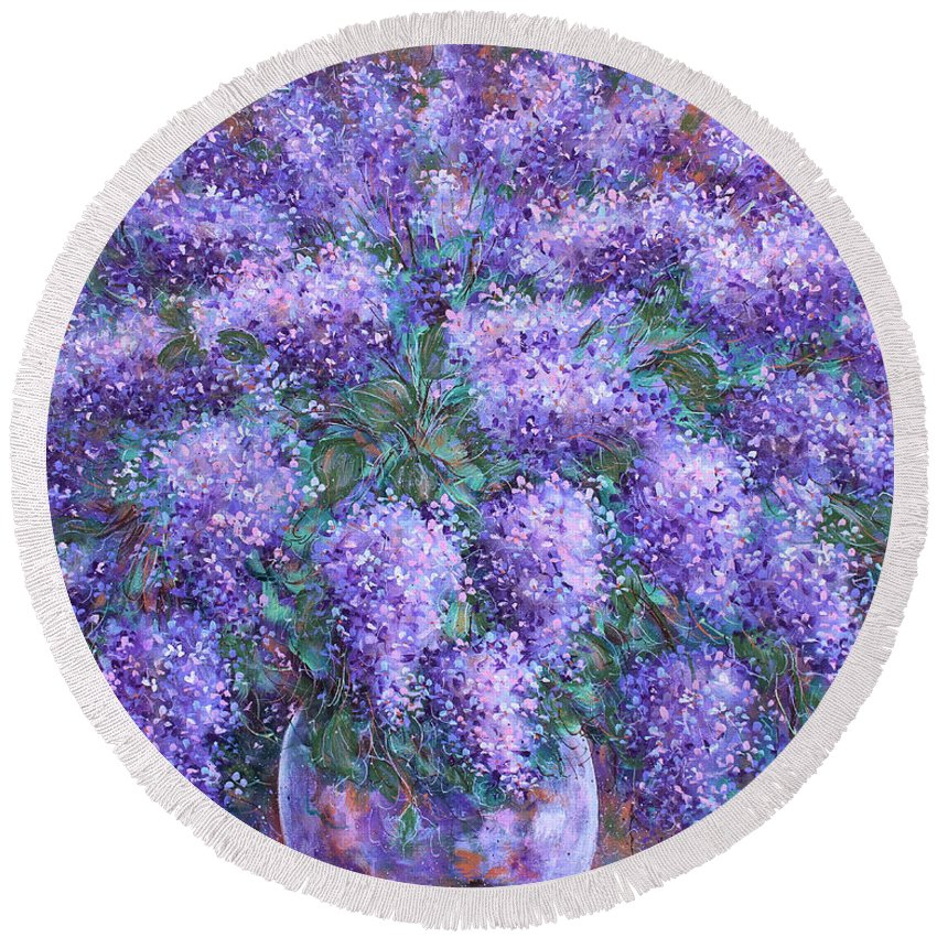 Flowers Round Beach Towel featuring the painting Scented Lilacs Bouquet by Natalie Holland