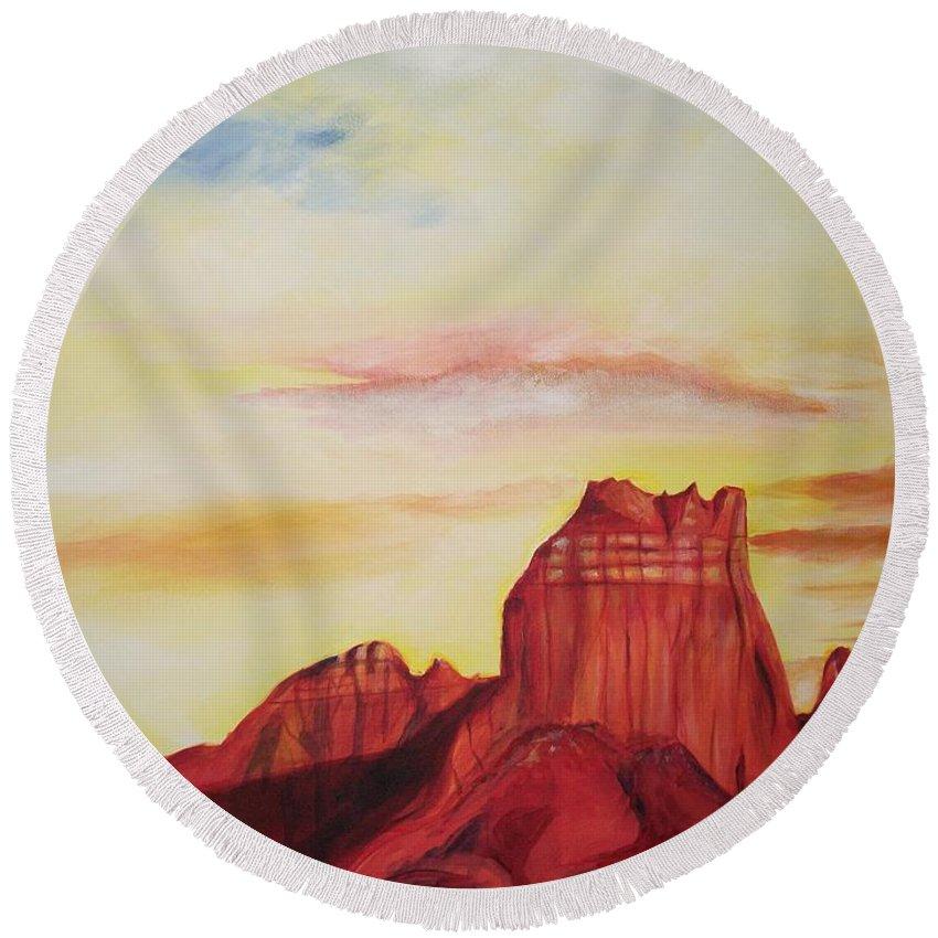 Western Round Beach Towel featuring the painting Sedona Az by Eric Schiabor