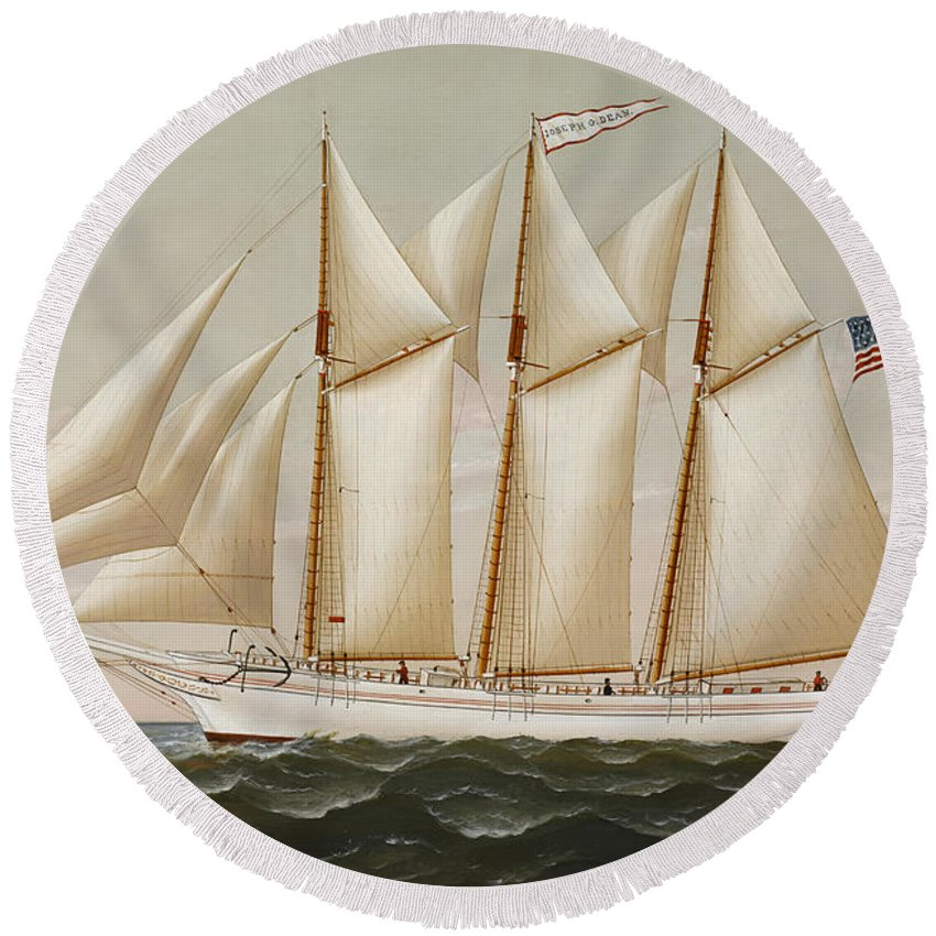 Horizon Round Beach Towel featuring the painting Ship by Charles Sidney Raleigh