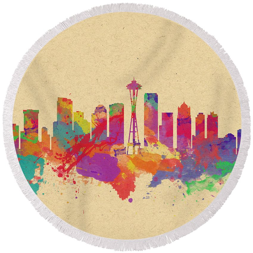 Seattle Round Beach Towel featuring the photograph Skyline Of Seattle Usa by Chris Smith