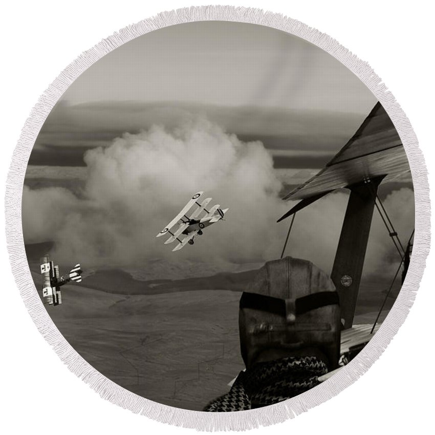 Aircraft Round Beach Towel featuring the digital art Sopwith - 'overwatch' by Pat Speirs
