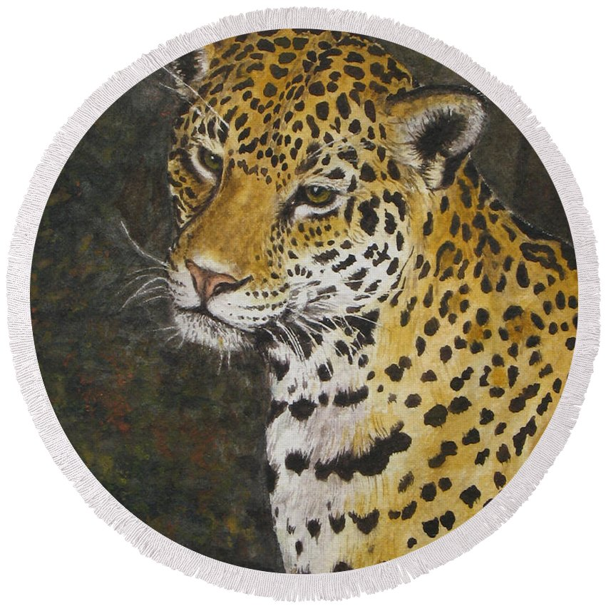 Wildlife Round Beach Towel featuring the painting South American Jaguar by Elaine Booth-Kallweit