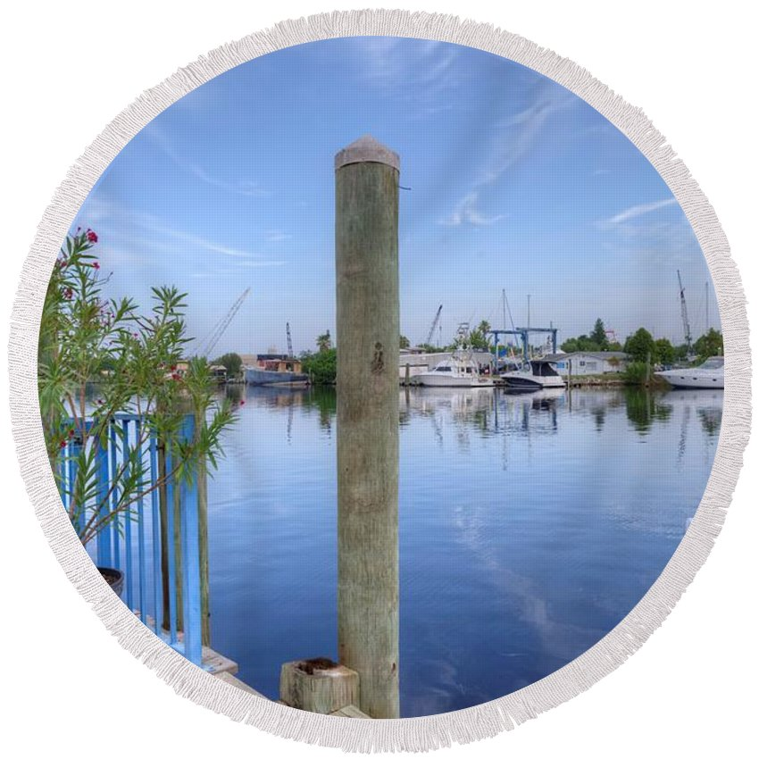 Sponge Boat Round Beach Towel featuring the photograph Sponge Boat Docks 2 by Liane Wright
