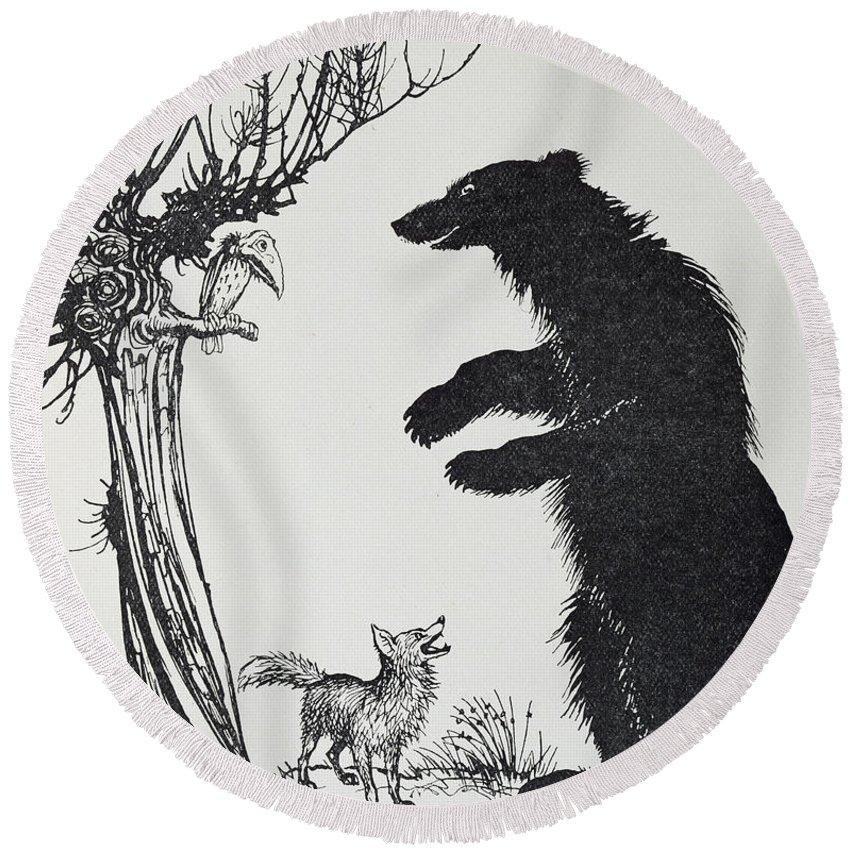 Arthur Rackham Round Beach Towel featuring the painting The Bear And The Fox by Arthur Rackham