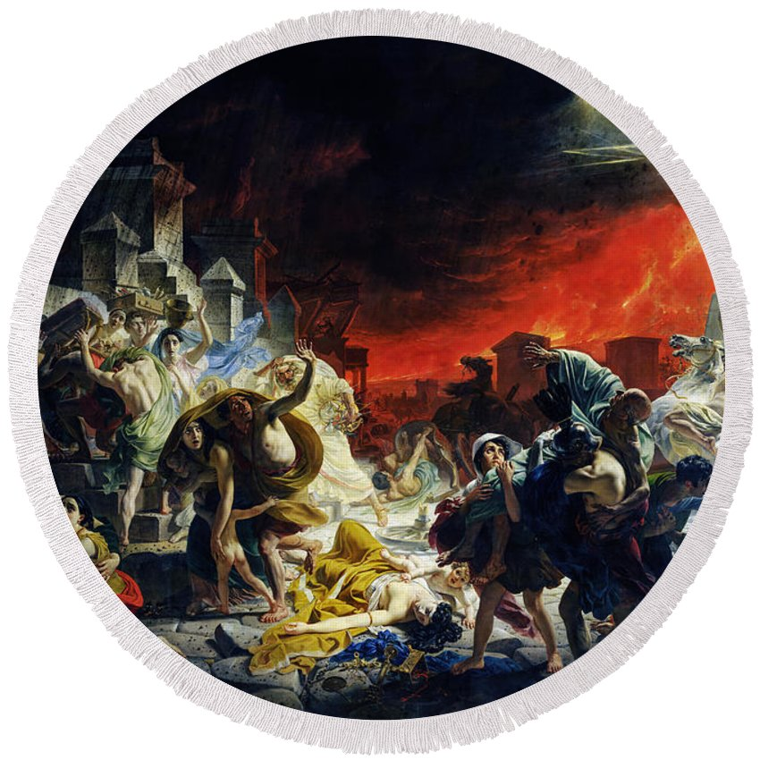 Last Day Round Beach Towel featuring the painting The Last Day Of Pompeii by Viktor Birkus