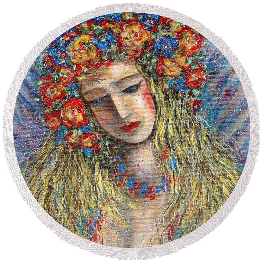 Painting Round Beach Towel featuring the painting The Loving Angel by Natalie Holland