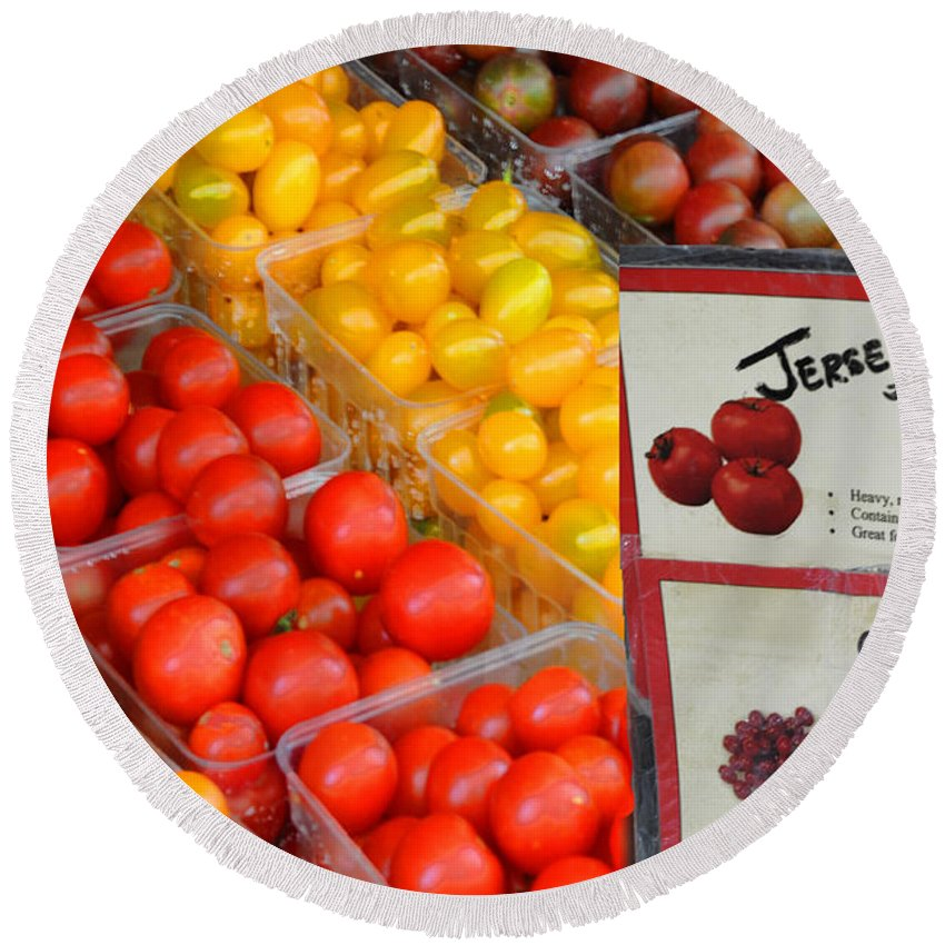 Grape Tomatoes Round Beach Towel featuring the photograph Tomatoes Nj Special by Regina Geoghan