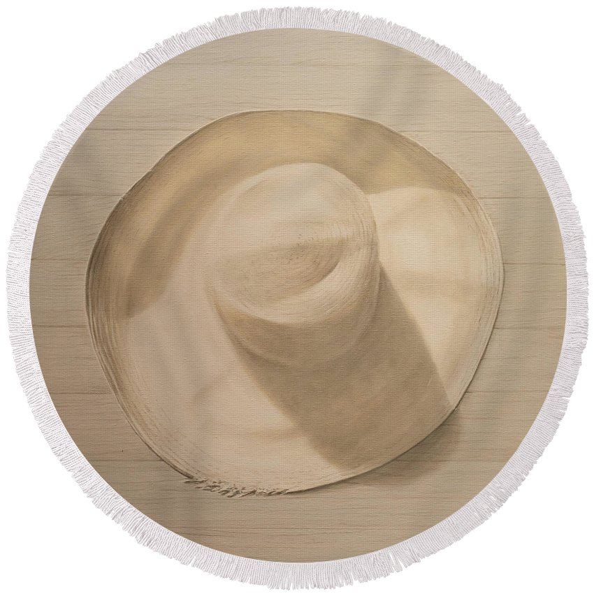 Still Life; Straw Hat; Sun Hat; Clothing; Monochrome Round Beach Towel featuring the painting Travelling Hat On Dusty Table by Lincoln Seligman