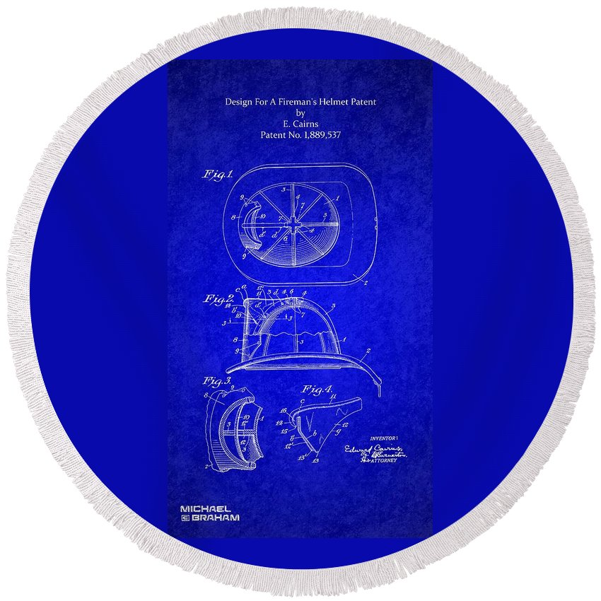 Cairns Round Beach Towel featuring the photograph Vintage 1932 Firemans Helmet Patent by Doc Braham