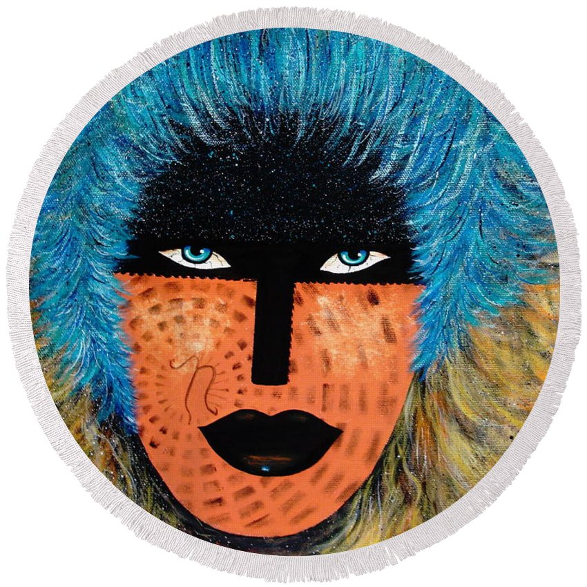 Woman Round Beach Towel featuring the painting Viva Niva by Natalie Holland