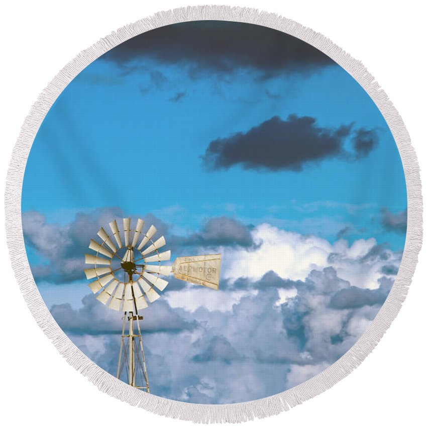 Alternative Round Beach Towel featuring the photograph Water Windmill by Stelios Kleanthous