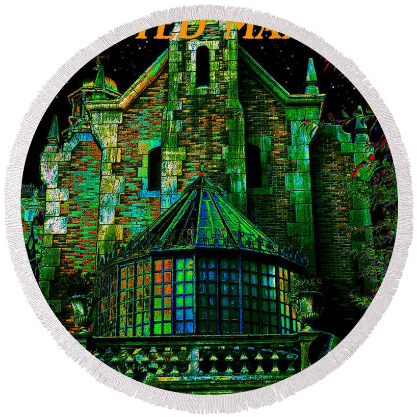 Haunted Mansion Round Beach Towel featuring the painting Haunted Mansion Poster Work A by David Lee Thompson