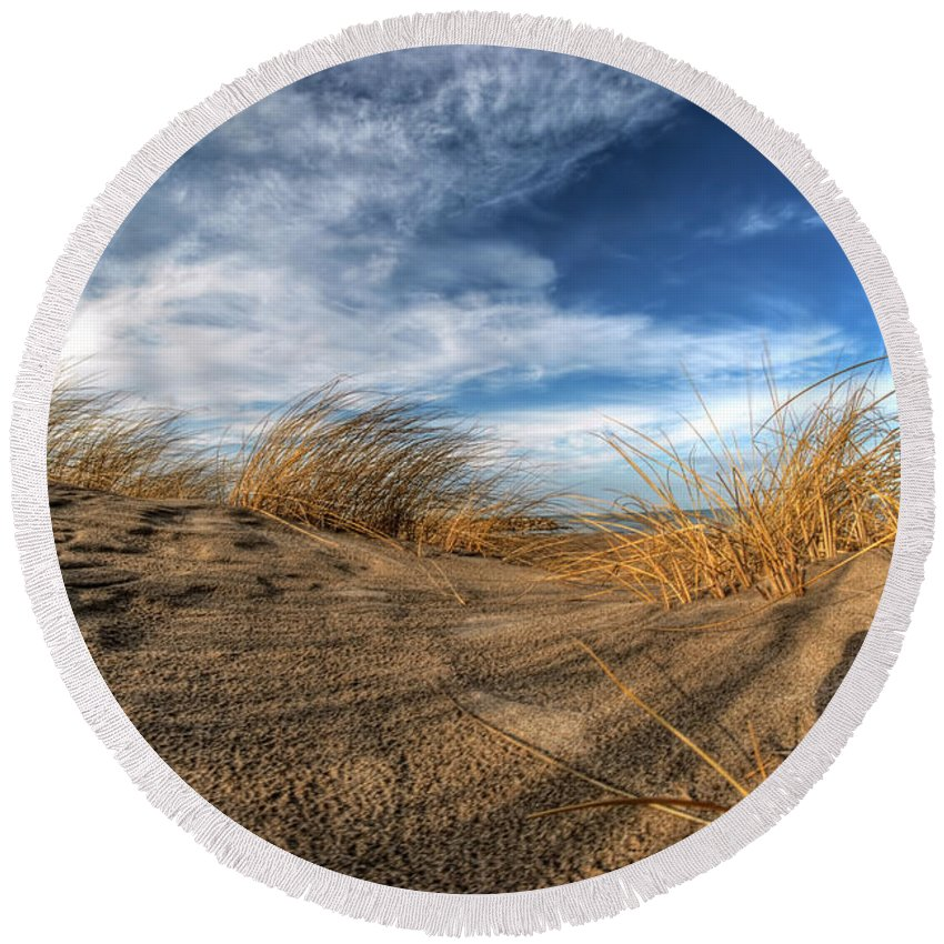 Round Beach Towel featuring the photograph 0010 Presque Isle State Park Series by Michael Frank Jr