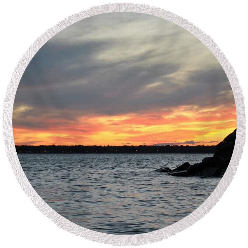 Sunset Round Beach Towel featuring the photograph 0011 Awe In One Sunset Series At Erie Basin Marina by Michael Frank Jr