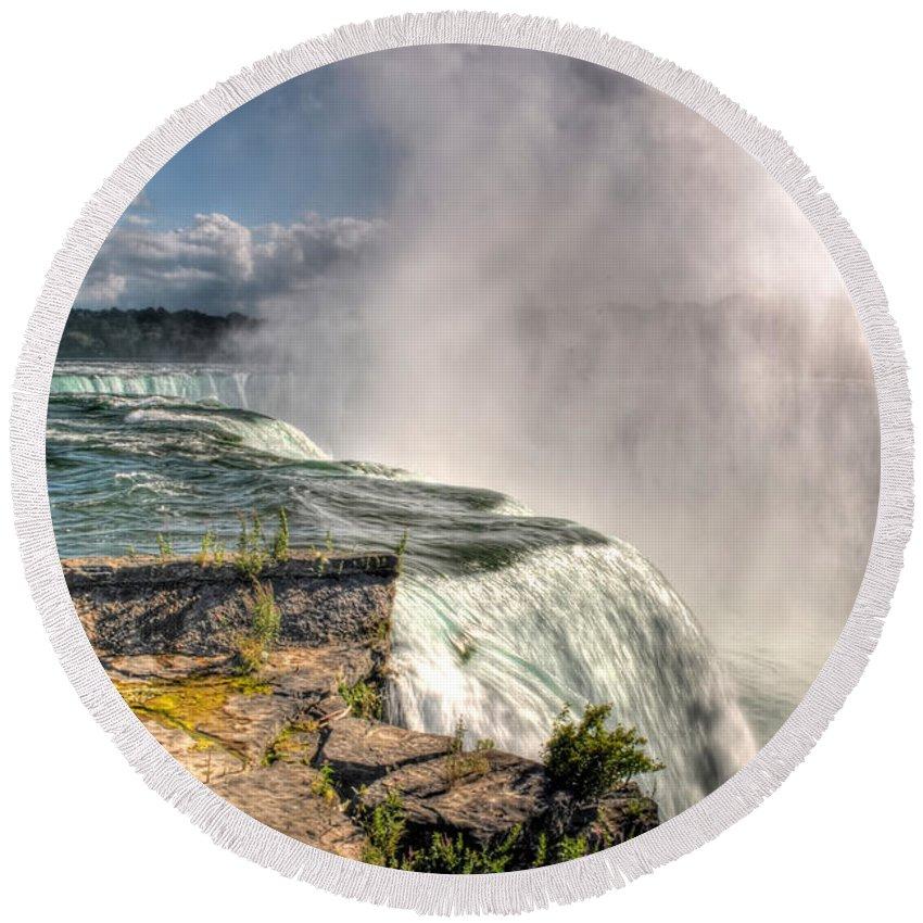 Niagara Falls Round Beach Towel featuring the photograph 0011 Niagara Falls Misty Blue Series by Michael Frank Jr