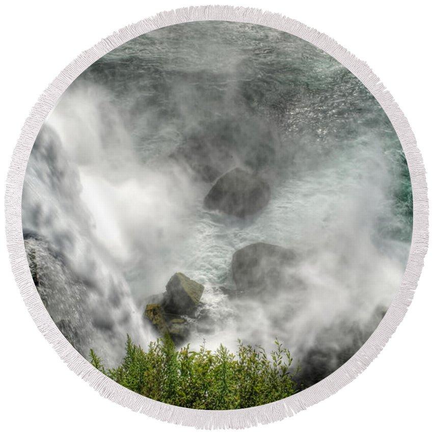Niagara Falls Round Beach Towel featuring the photograph 0012 Niagara Falls Misty Blue Series by Michael Frank Jr