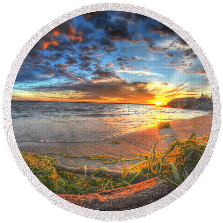 Sunset Round Beach Towel featuring the photograph 0014 Awe In One Sunset Series At Erie Basin Marina by Michael Frank Jr