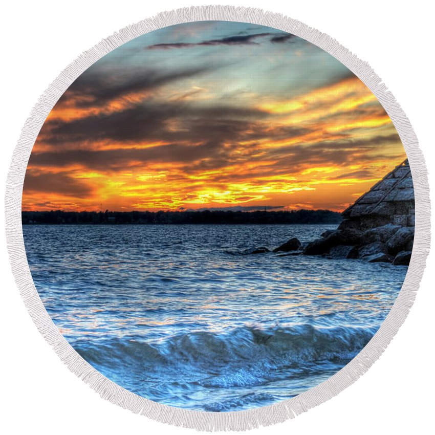 Sunset Round Beach Towel featuring the photograph 0015 Awe In One Sunset Series At Erie Basin Marina by Michael Frank Jr