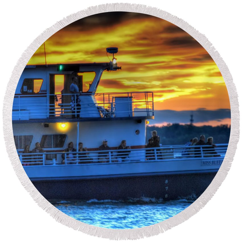 Sunset Round Beach Towel featuring the photograph 0017 Awe In One Sunset Series At Erie Basin Marina by Michael Frank Jr