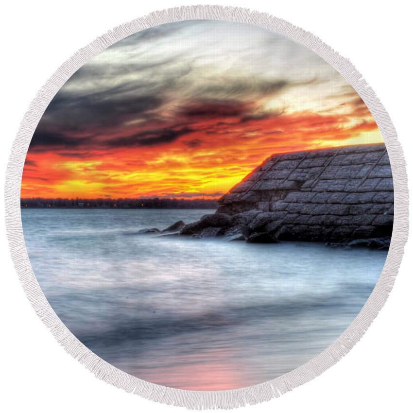 Sunset Round Beach Towel featuring the photograph 0018 Awe In One Sunset Series At Erie Basin Marina by Michael Frank Jr