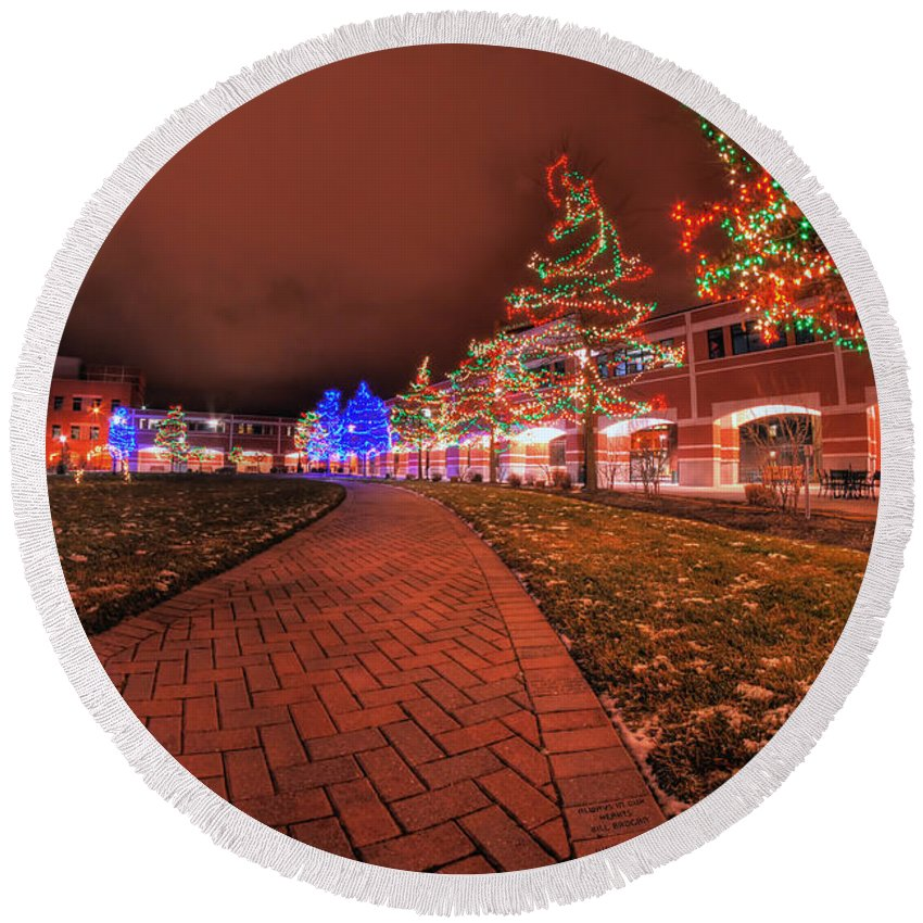 Round Beach Towel featuring the photograph 002 Christmas Light Show At Roswell Series by Michael Frank Jr