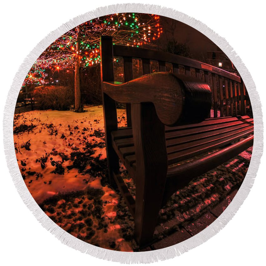 Round Beach Towel featuring the photograph 003 Christmas Light Show At Roswell Series by Michael Frank Jr