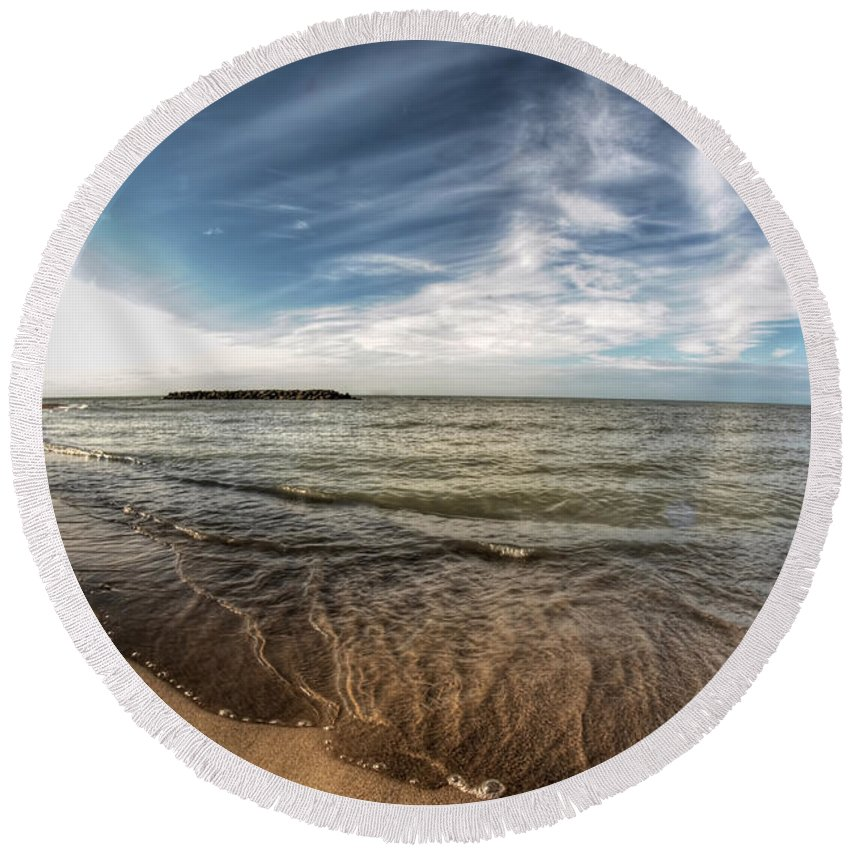 Round Beach Towel featuring the photograph 003 Presque Isle State Park Series by Michael Frank Jr