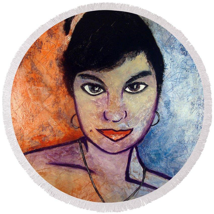 Portrait Round Beach Towel featuring the painting Miranda Bresenio I by Brian Bingham