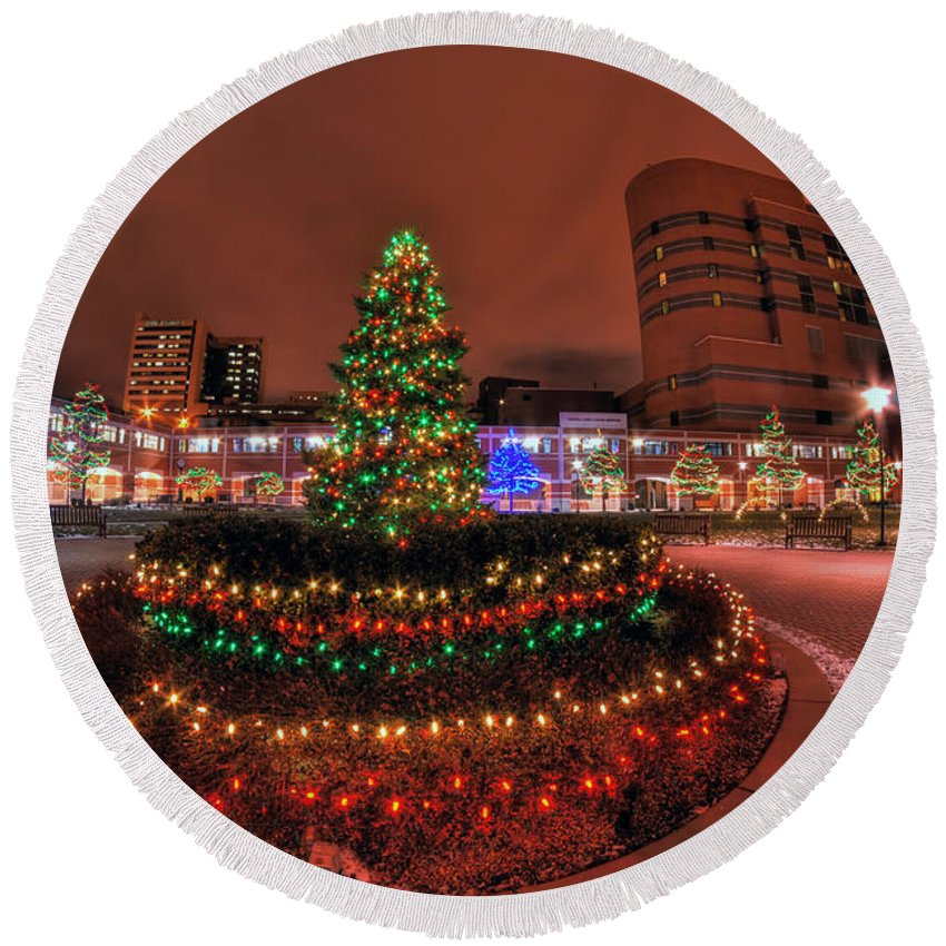 Round Beach Towel featuring the photograph 004 Christmas Light Show At Roswell Series by Michael Frank Jr