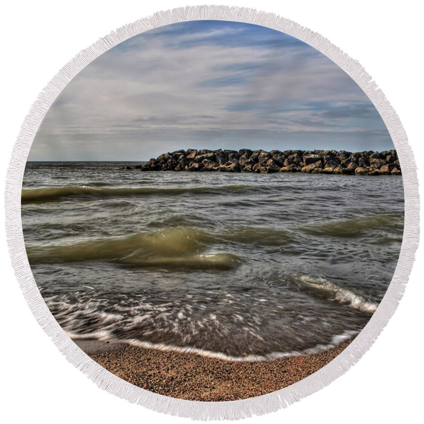 Round Beach Towel featuring the photograph 006 Presque Isle State Park Series by Michael Frank Jr