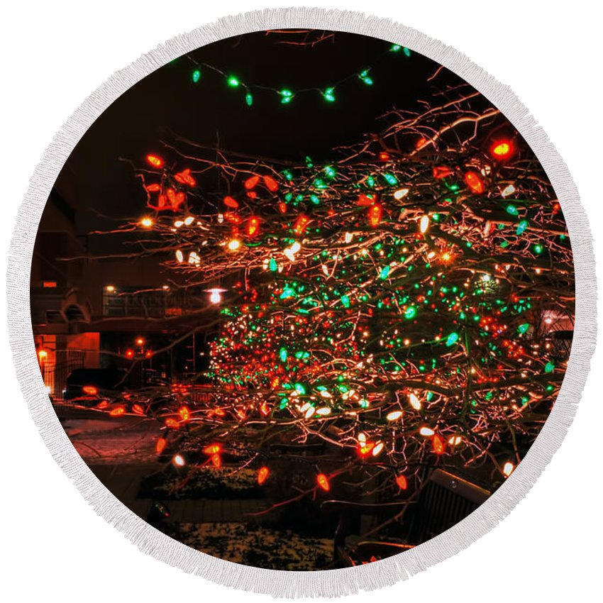 Round Beach Towel featuring the photograph 008 Christmas Light Show At Roswell Series by Michael Frank Jr