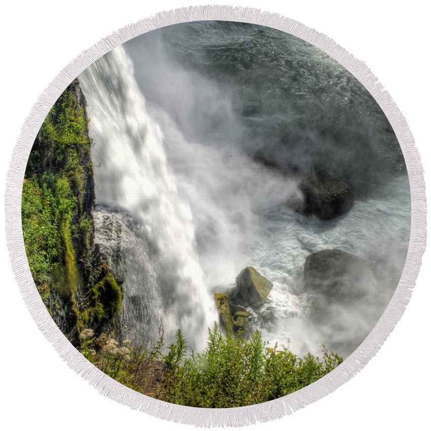 Niagara Falls Round Beach Towel featuring the photograph 008 Niagara Falls Misty Blue Series by Michael Frank Jr