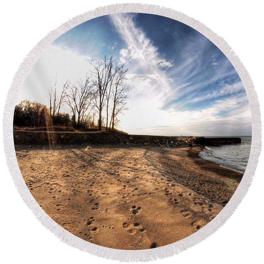 Round Beach Towel featuring the photograph 008 Presque Isle State Park Series by Michael Frank Jr