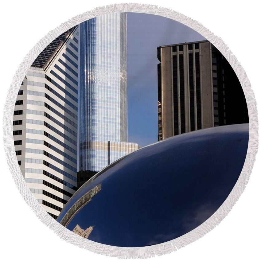 Millennium Round Beach Towel featuring the photograph 0081 The Bean And Trump by Steve Sturgill