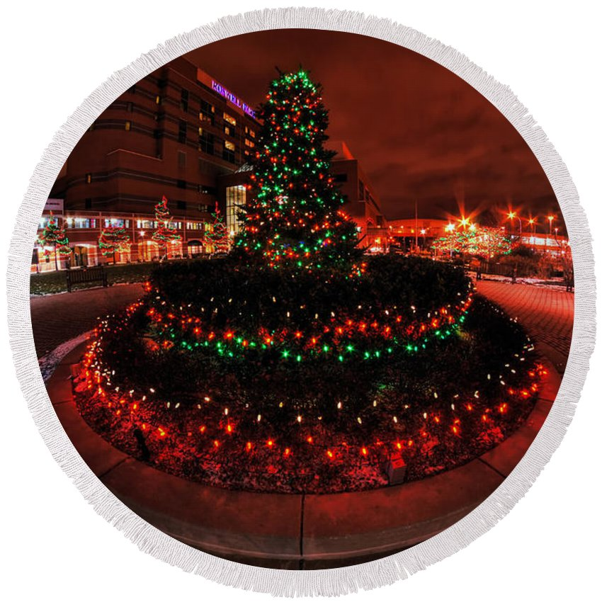 Round Beach Towel featuring the photograph 009 Christmas Light Show At Roswell Series by Michael Frank Jr