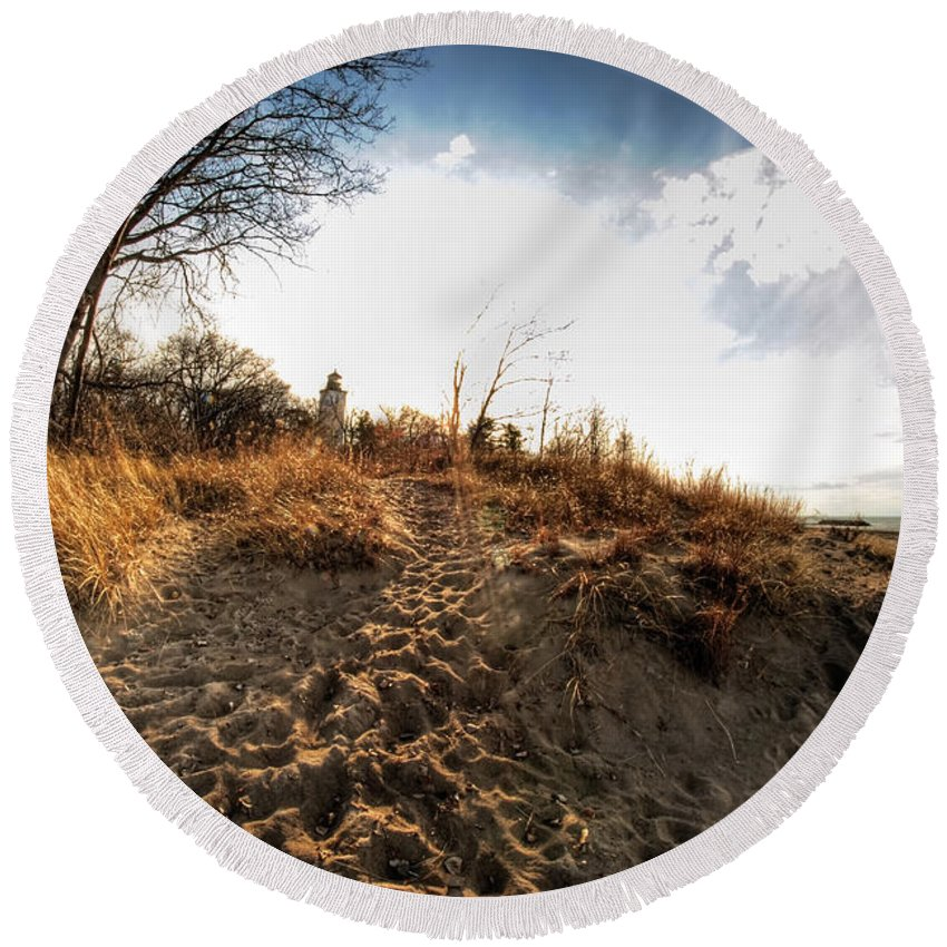 Round Beach Towel featuring the photograph 009 Presque Isle State Park Series by Michael Frank Jr