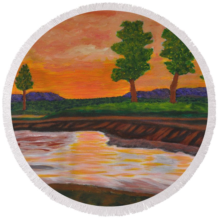 Landscape Round Beach Towel featuring the painting 011 Landscape by Chowdary V Arikatla