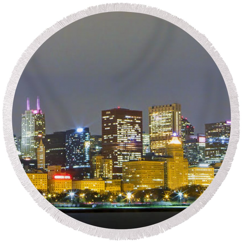 Chicago Round Beach Towel featuring the photograph 0247 Chicago Skyline Panoramic by Steve Sturgill