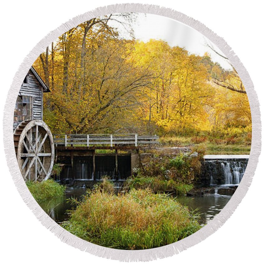 Hyde Round Beach Towel featuring the photograph 0289 Hyde's Mill Wisconsin by Steve Sturgill
