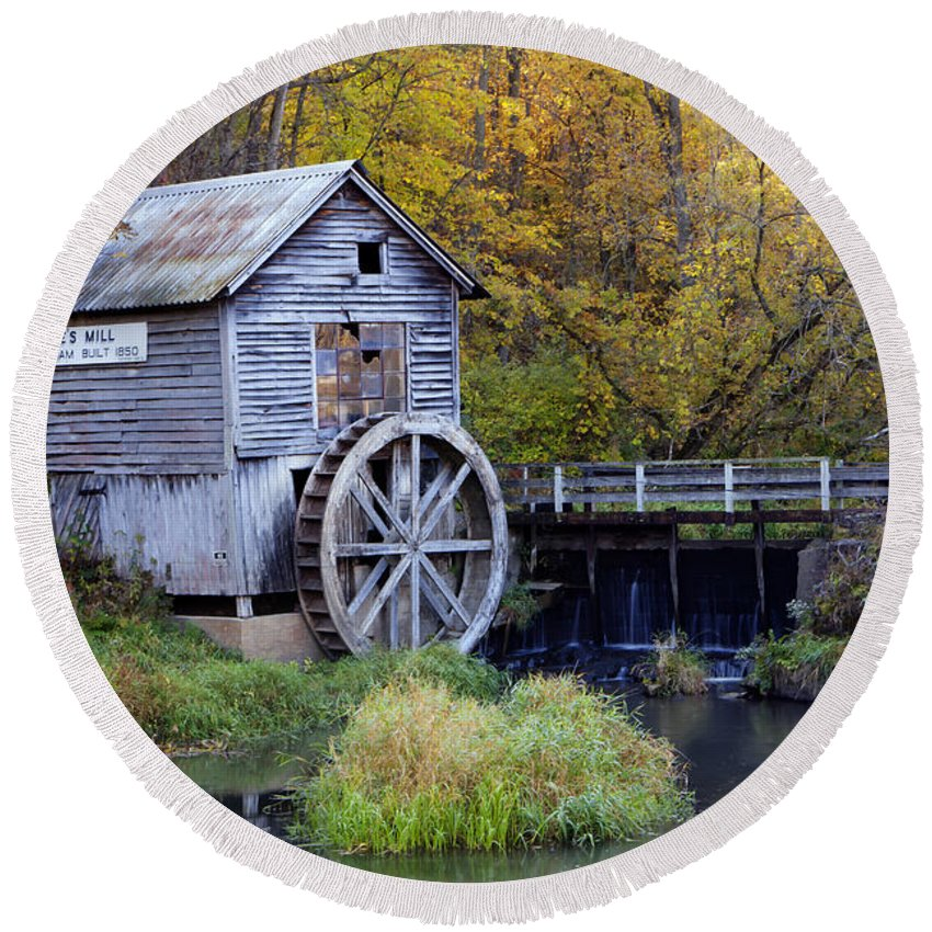 Hyde Round Beach Towel featuring the photograph 0290 Hyde's Mill Wisconsin by Steve Sturgill