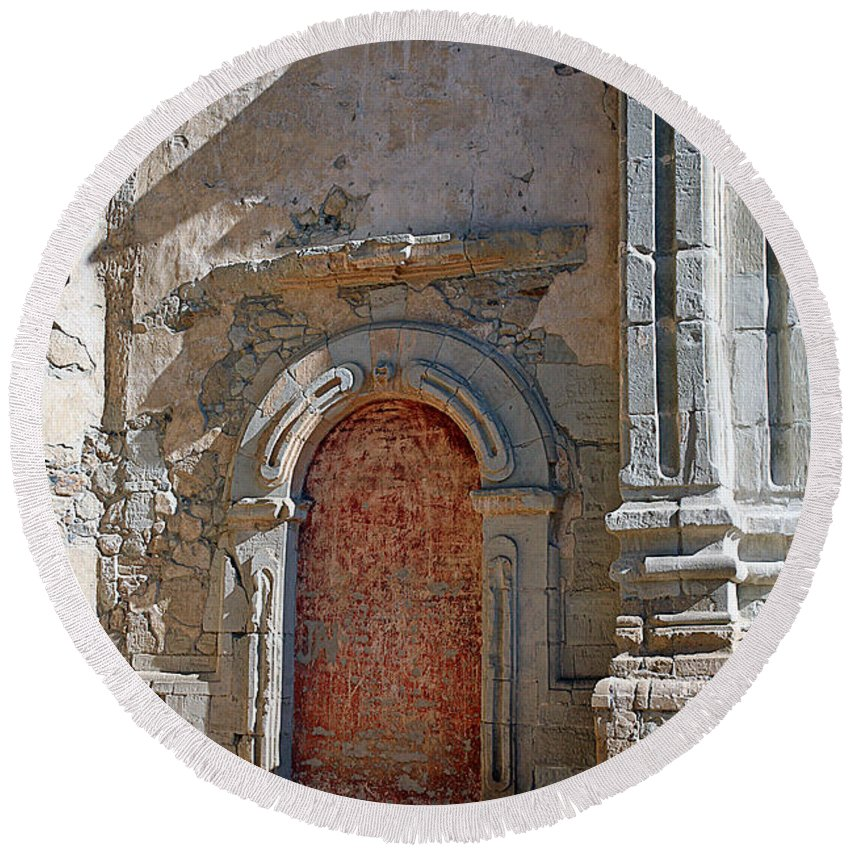 Mission Round Beach Towel featuring the photograph 0328 Mission At San Juan Capistrano by Steve Sturgill