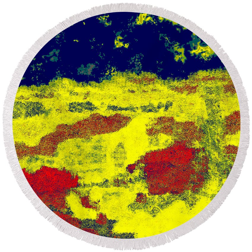 Abstract Round Beach Towel featuring the digital art 0375 Abstract Thought by Chowdary V Arikatla