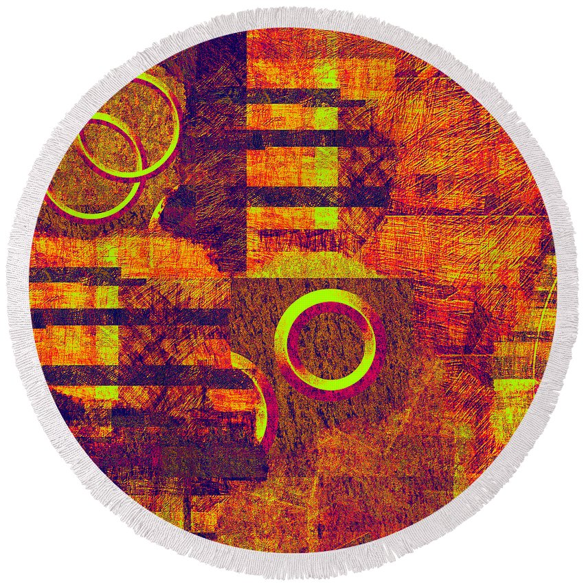Abstract Round Beach Towel featuring the digital art 0482 Abstract Thought by Chowdary V Arikatla