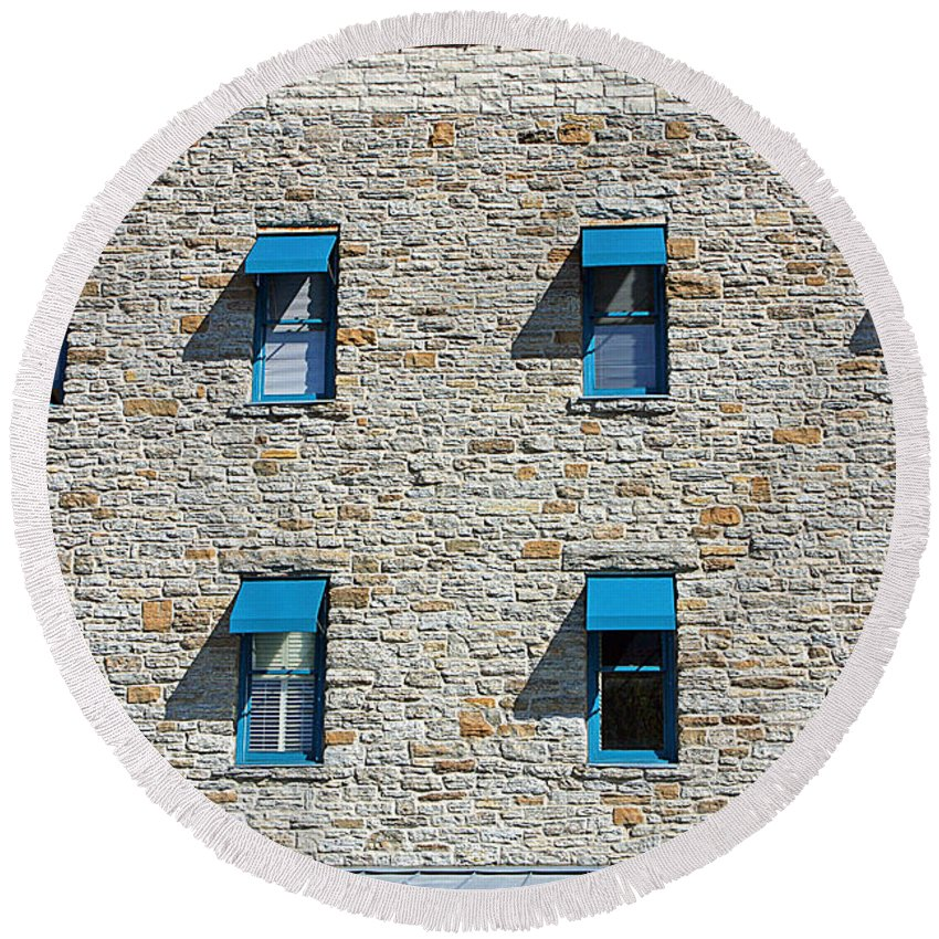 Minneapolis Round Beach Towel featuring the photograph 0547 Windows by Steve Sturgill